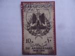 Sellos de Africa - Egipto -  Emblema y Corona de Estado - 3er Aniversario de la U.A.R. (1958-1961)