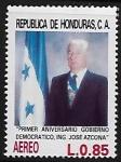 Sellos del Mundo : America : Honduras : Primer aniversario de gobierno democrático Ing. José Azcona