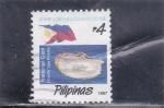 Sellos del Mundo : Asia : Filipinas : Ostras de labios blancos (Pinctada maxima) y perlas
