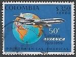 Sellos del Mundo : America : Colombia : 50 años de Avianca, primera línea aérea en las Américas