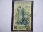 de Europa - Italia -  VI Cent. del Nacimiento de Sta. Catalina de Siena - Sta. Catalina de Siena en actitud caritativa.
