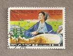 Stamps North Korea -  Trabajadora de finca de trigo