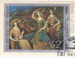Stamps Russia -  PINTURA-Tea Pickers, V.D. Gudiashvili (1964)