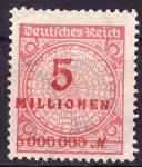 Stamps Germany -  5 Millonen/Sobrestampado a la izda.con filigrana