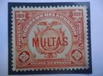 Stamps Ecuador -  MULTAS- Escudo - postage due.