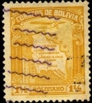 Stamps Bolivia -  Aeroplano y mapa de Bolivia.