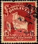 Stamps Bolivia -  Mapa de Bolivia.