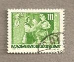 Sellos de Europa - Hungría -  Cartera entregando carta a destinataria