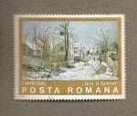 Sellos de Europa - Rumania -  Estampa invernal por I. Andreescu