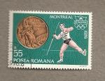Sellos de Europa - Rumania -  Juegos Olímpicos Montreal,lanzamiento jabalina