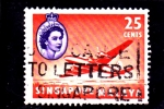 Stamps Singapore -  avión e IsabelII