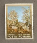 Stamps Romania -  Rocas y abedules por I. Andreescu