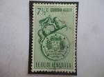 Stamps Venezuela -  EE.UU de Venezuela - Venezuela 7,1/2 cént. - Escudo de Arma y Escultura de Bolívar.