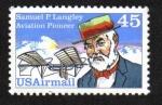 Sellos del Mundo : America : Estados_Unidos : Pioneros de la aviación, Samuel P. Langley y aeródromo no tripulado