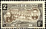 Stamps Bolivia -  Centenario del himno nacional de Bolivia. Letra Dr. José Ignacio de Sanginés, Música Leopoldo Benede