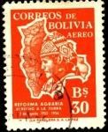 Sellos de America - Bolivia -  Primer aniversario de la reforma agraria.