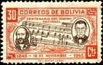 Sellos del Mundo : America : Bolivia : Centenario del himno nacional de Bolivia. Letra Dr. José Ignacio de Sanginés, Música Leopoldo Benede