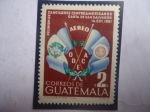de America - Guatemala -  ODECA-Reuniones de Cancilleres Centroamericanos- Carta de San Salvador-Banderas de Guatemala y el Sa