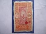Sellos del Mundo : Europa : Francia : Afrique Occidentale francaise - Resellado con Haute-Volta- sello de 1 céntimo francés.