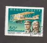 Stamps : Europe : Hungary :  Aviadores Alcock y tBtown