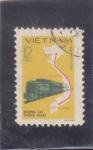 Stamps Vietnam -  Línea de Ferrocarril y mapa