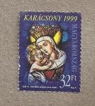 Sellos de Europa - Hungría -  Virgen con niño, vidriera por Miksa Roth