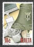 Stamps : Europe : Malta :  800 - Cruz de San Jorge y Campana de Asedio
