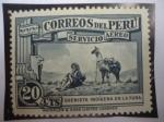 Stamps Peru -  El Flautista y la Yama - Quenista Indígena en la Puna - Serie:Motivos del País-Correo Aéreo 1937
