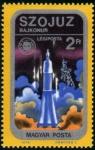 Stamps Hungary -  Apolo-Soyuz, despegue del Soyuz desde Baykonur
