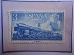 de Europa - España -  Ed:1234-XVII Congreso Internacional de Ferrocarriles-Madrid-Locomotora 242F-Castillo de la Mota.