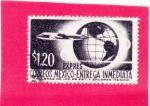 Stamps Mexico -  avión y mapamundi