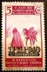 Stamps : Europe : Spain :  MARRUECOS ESPAÑOL. 1940 17 jul. IV Aniversario del Alzamiento Nacional