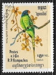 Sellos del Mundo : Asia : Camboya : Psittacula himalayana finschii)