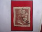 Stamps Greece -  Escultura - Jefe de la Juventud- Arte griego Antiguo- Sello de 1 Dracma, año 1958.