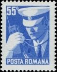 Stamps : Europe : Romania :  Policía con walky talky