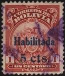 Stamps America - Bolivia -  Escudo de Bolivia sobretasa 5 cent.
