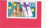 Stamps : Europe : Germany :  100 aniversario Iglesia de San Felipe, bandera protestante de la iglesia & Llamas de velas