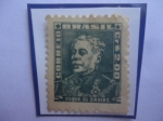 Stamps : America : Brazil :  Brigadier, Luis Alves de Lima e Silva (1803-/80) ó Duque de Caxias- Sello de Fondo Rayado, año 1961-