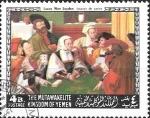 Sellos del Mundo : Asia : Yemen : Pinturas de maestros estadounidenses y europeos, Los jugadores de cartas de Lucas Van Leyden