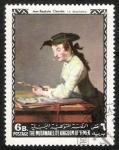 Sellos del Mundo : Asia : Yemen : Pinturas de maestros estadounidenses y europeos, Jean-Baptiste Chardin: Le dessinateur