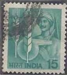 Stamps : Asia : India :  1980 - Farmer and Agricultural Symbols
