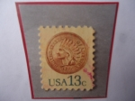Stamps America - United States -  Indian Head penny, 1877 - Cabeza de Indio - Serie: 1975- 1981