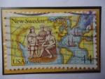 Sellos del Mundo : America : Estados_Unidos : New Sweden, 1638-Nativos con el Alemán Peter Minuit (1580-1638)-Nueva Suecia,1638.