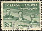 Sellos del Mundo : America : Bolivia : Primer aniversario de la revolución nacional de 1952. VILLAROEL, ESTENSSORO, SILES SUAZO.
