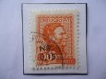 Sellos del Mundo : America : Uruguay : General José Gervacio Artigas (1764-1850)-Prócer- Sello con Sobretasa: 0,15 sobre 40 (a Nuevo peso U