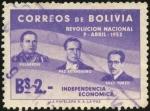 Stamps Bolivia -  Primer aniversario de la revolución nacional de 1952. VILLAROEL, ESTENSSORO, SILES SUAZO.