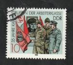 Stamps : Europe : Germany :  2791 - Milicianos, bandera y cuadro de Thalmann