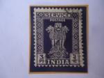 Stamps India -  Capitel de Asoka- Emblema Oficial de la India- 4 Leones sobre Flor de Loto -Budismo