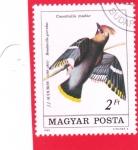 Stamps Hungary -  Ave-Ala de cera bohemia (Bombycilla garrulus)
