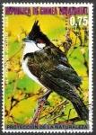 Stamps : Africa : Equatorial_Guinea :  Pájaros asiáticos, Bulbul de bigotes rojos (Pycnonotus jocosus)